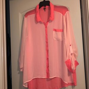 Sheer button up blouse - Maurices